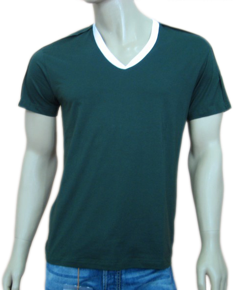 Daniele Alessandrini Mens Green Layered V-Neck Tee