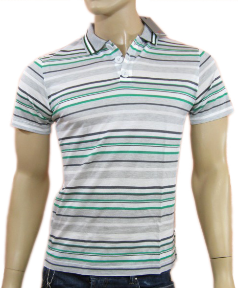 Daniele Alessandrini Mens Grey Stripes Polo Shirt
