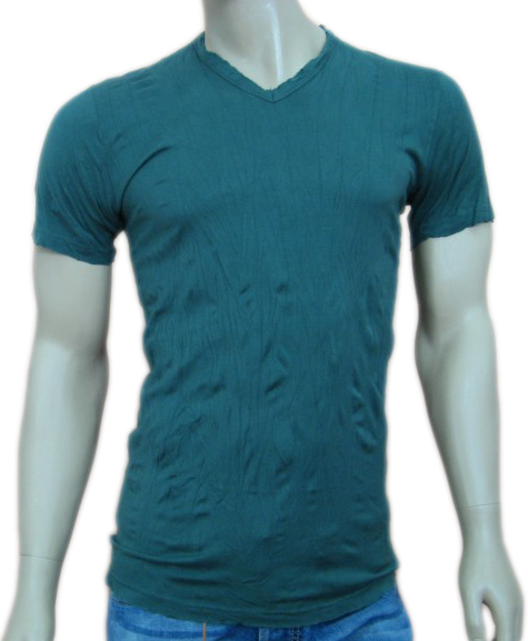 Daniele Alessandrini Mens Green Crumpled Slim Fitted Shirt
