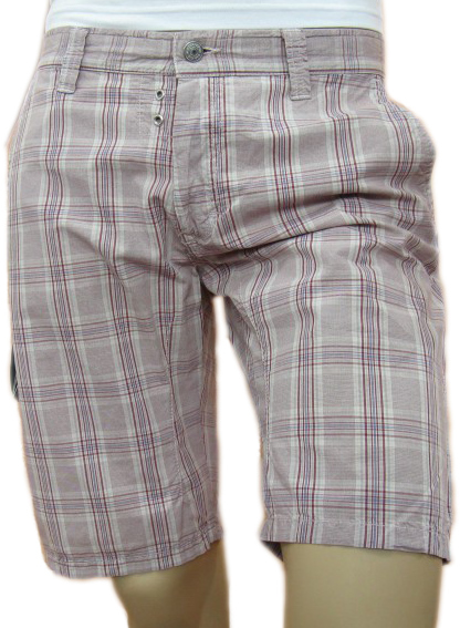 Daniele Alessandrini Mens Bordeaux Plaid Cargo Shorts