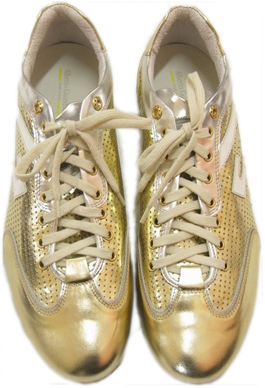 Alberto Guardiani Mens Gold Patent Perforated Leather Sneaker Shoes