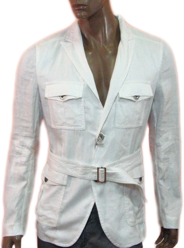Richmond Mens White Belted Slim Fit Blazer Jacket